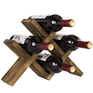 MyGift 4-Bottle Countertop Rustic Brown Wood Wine Rack