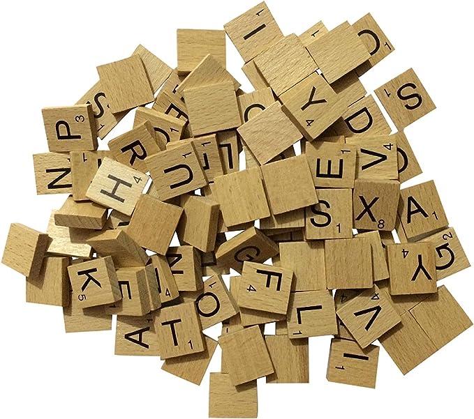 Letras de madera para Scrabble de Liroyal, 100 unidades, también para hacer joyas o manualidades: Amazon.es: Hogar