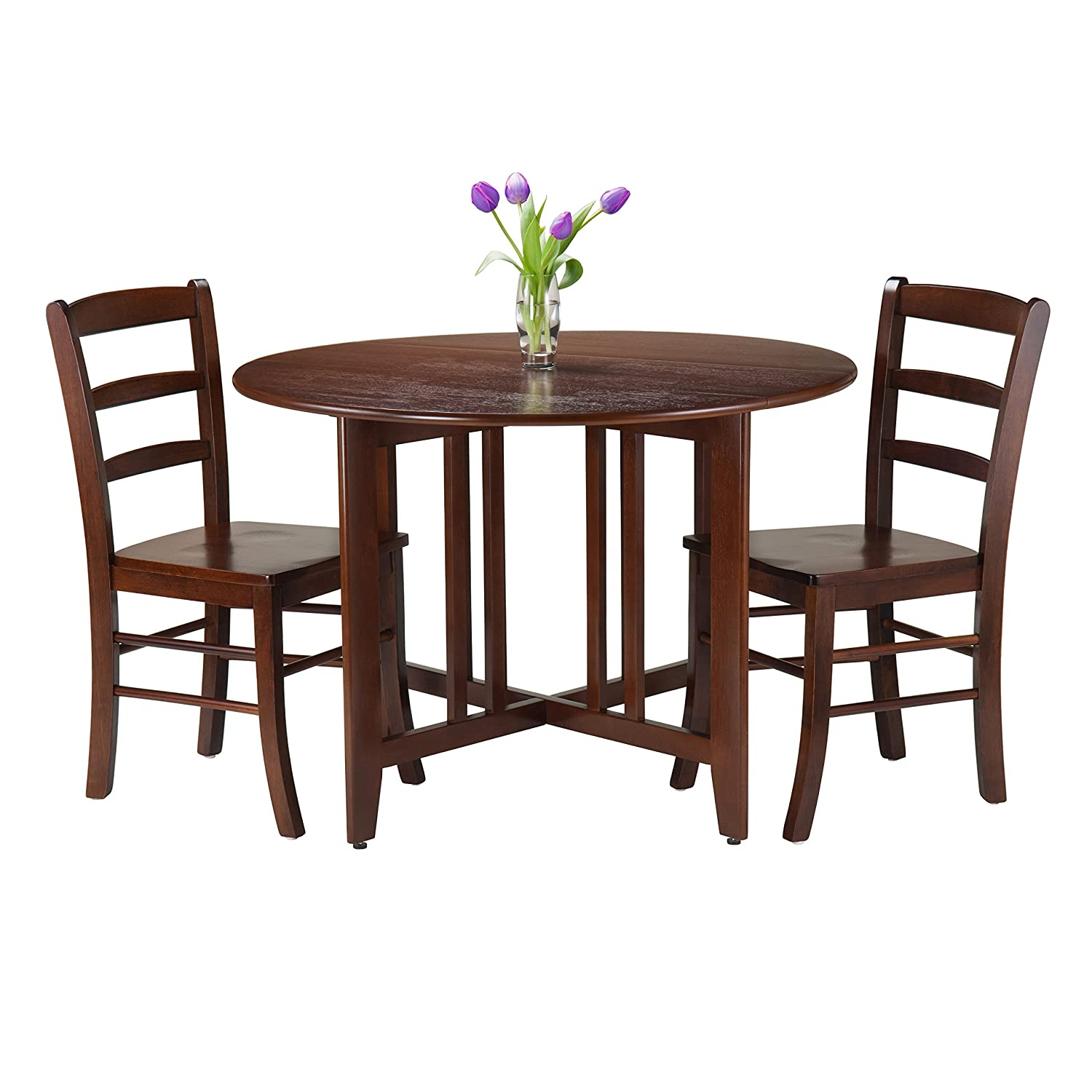 winsome 5 piece alamo round drop leaf table with 4