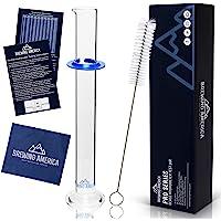 Glass Hydrometer Test Tube Jar & Cylinder Brush - Narrow Flask for Alcohol Testing Moonshine, Homebrew Beer, Home Wine…