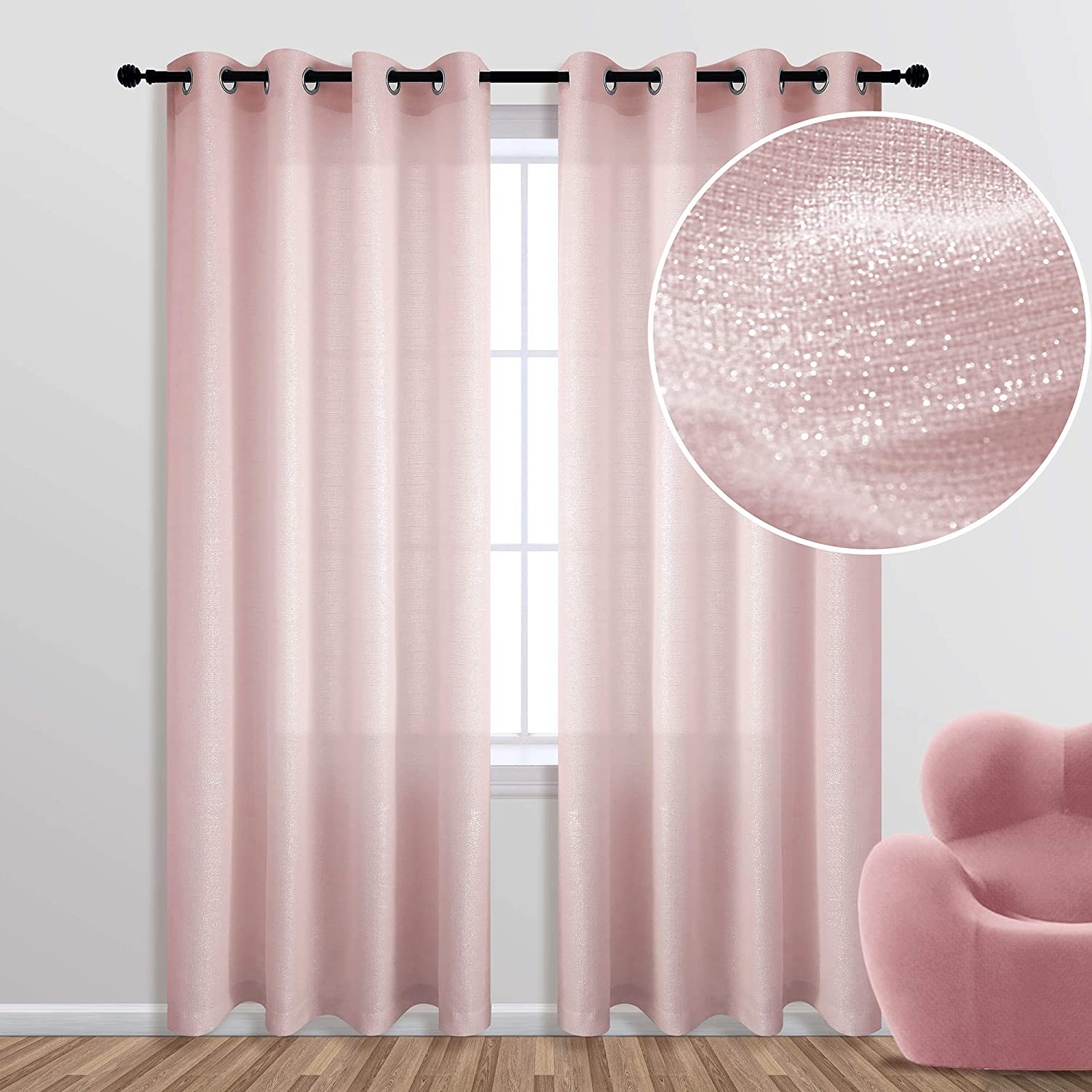 KOUFALL Rose Gold Curtains 84 Inch Length for Bedroom 1 Single Panel Grommet Window Semi Sheer Privacy Light Filtering Sparkle Metallic Shimmer Blush Pink Glitter Curtains for Girls Room Living Room