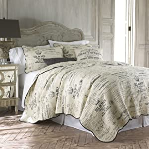 Levtex Histoire Grey Full/Queen Cotton Quilt Set Grey,Ivory