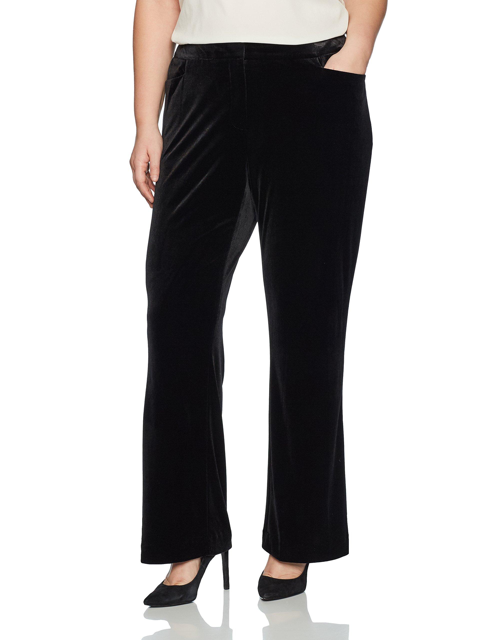 Calvin Klein Women's Plus Size Velvet Pant, Black, 20W