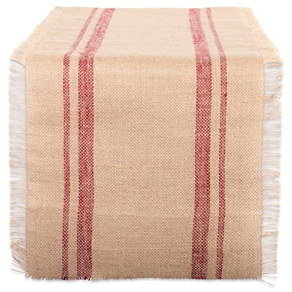 DII 14x72u0026quot; Jute/Burlap Table Runner, Border Barn Red   Perfect For Fall