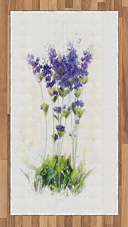 bd68c617092f8 Lunarable Lavender Area Rug, Fresh Flowers on Stems Rural Country Inspired  Digital Watercolor Art,