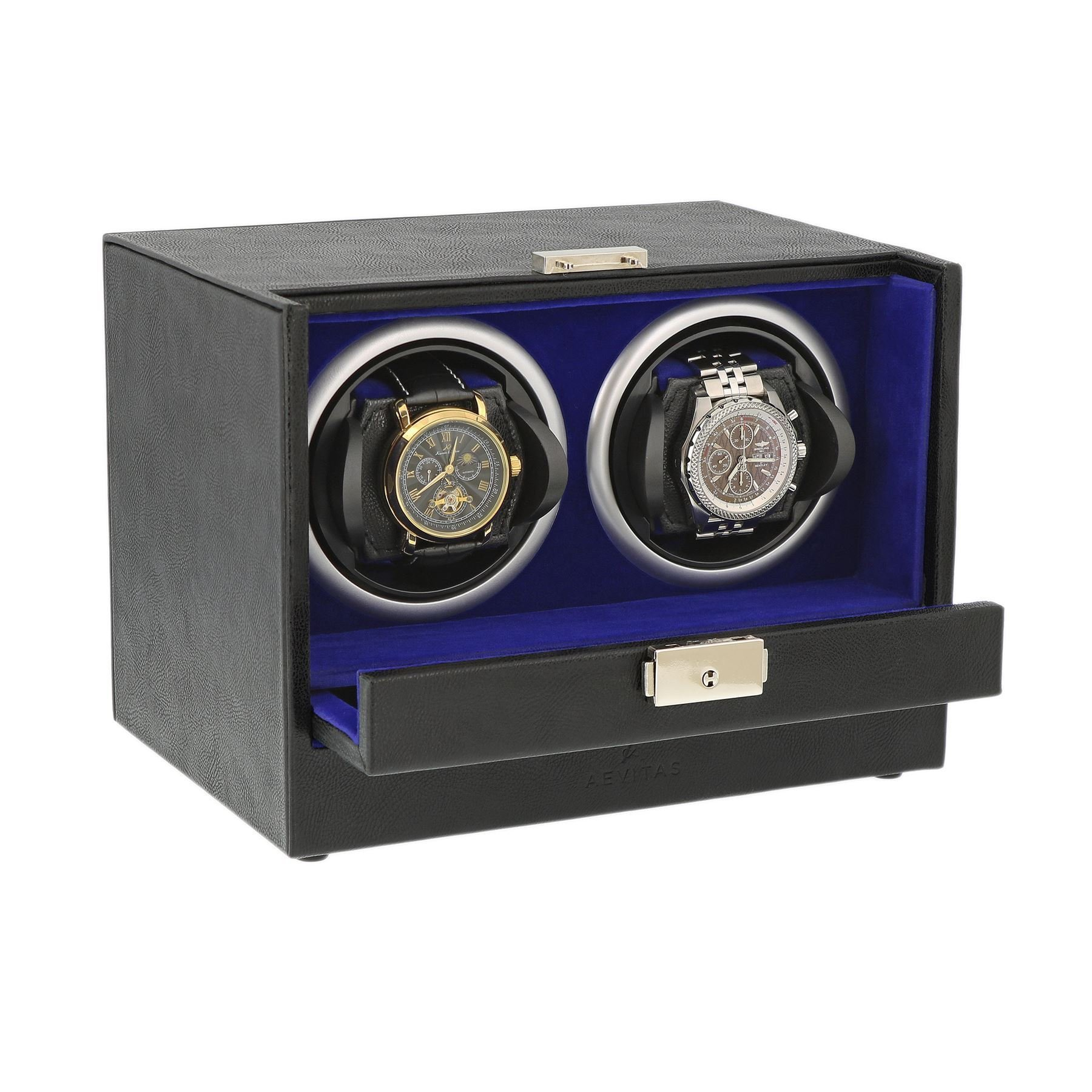 Black Genuine Leather Dual Watch Winder - Slide Away Door - Purple / Blue Velvet Lining by Aevitas