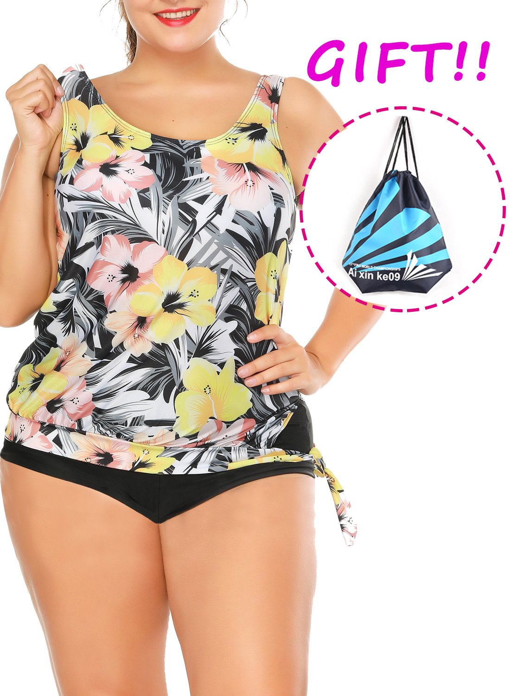 Sylaon Two Piece Womens Swimsuits Plus Size Tankini Set A-Tops with Bottom Printed Swimwear Bikini US 16-18/XXL B-light Goldenrod+pants