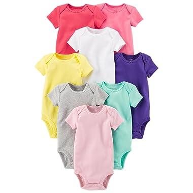 Carter's Baby Girls' 8-Pack Short-Sleeve Bodysuits