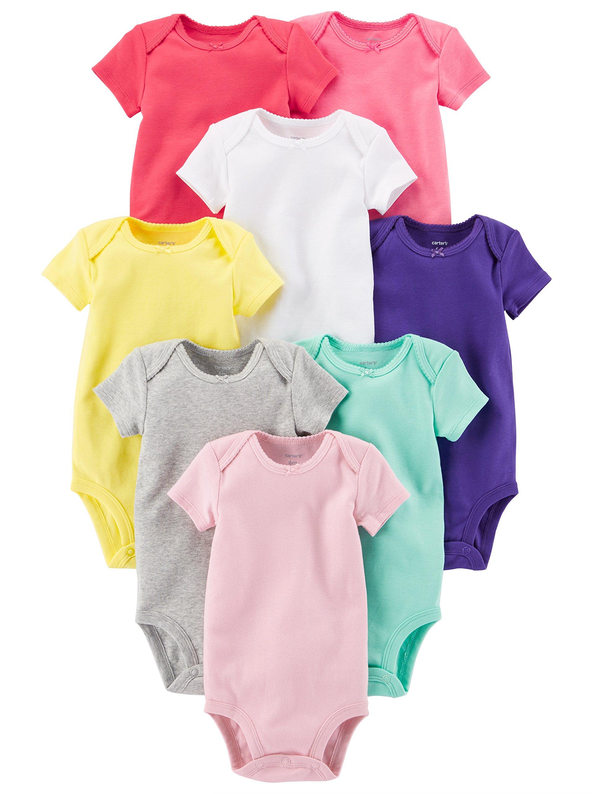 Carter's Baby Girls' 8 Pack Short Sleeve Bodysuits, Multi/Pink, 3 Months