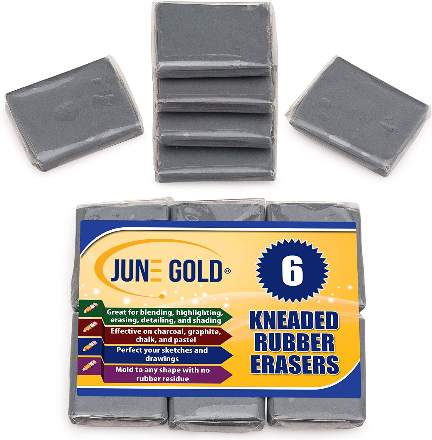 June Gold Kneaded Rubber Erasers (6 Pack) - Blend, Shade, Smooth, Correct, and Brighten Your Sketches and Drawings