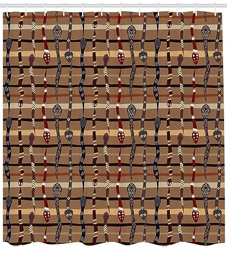 Tribal cortina de ducha por Ambesonne, nativo americano Wildlife primitiva Funky serpientes tradicional Oriental arreglo