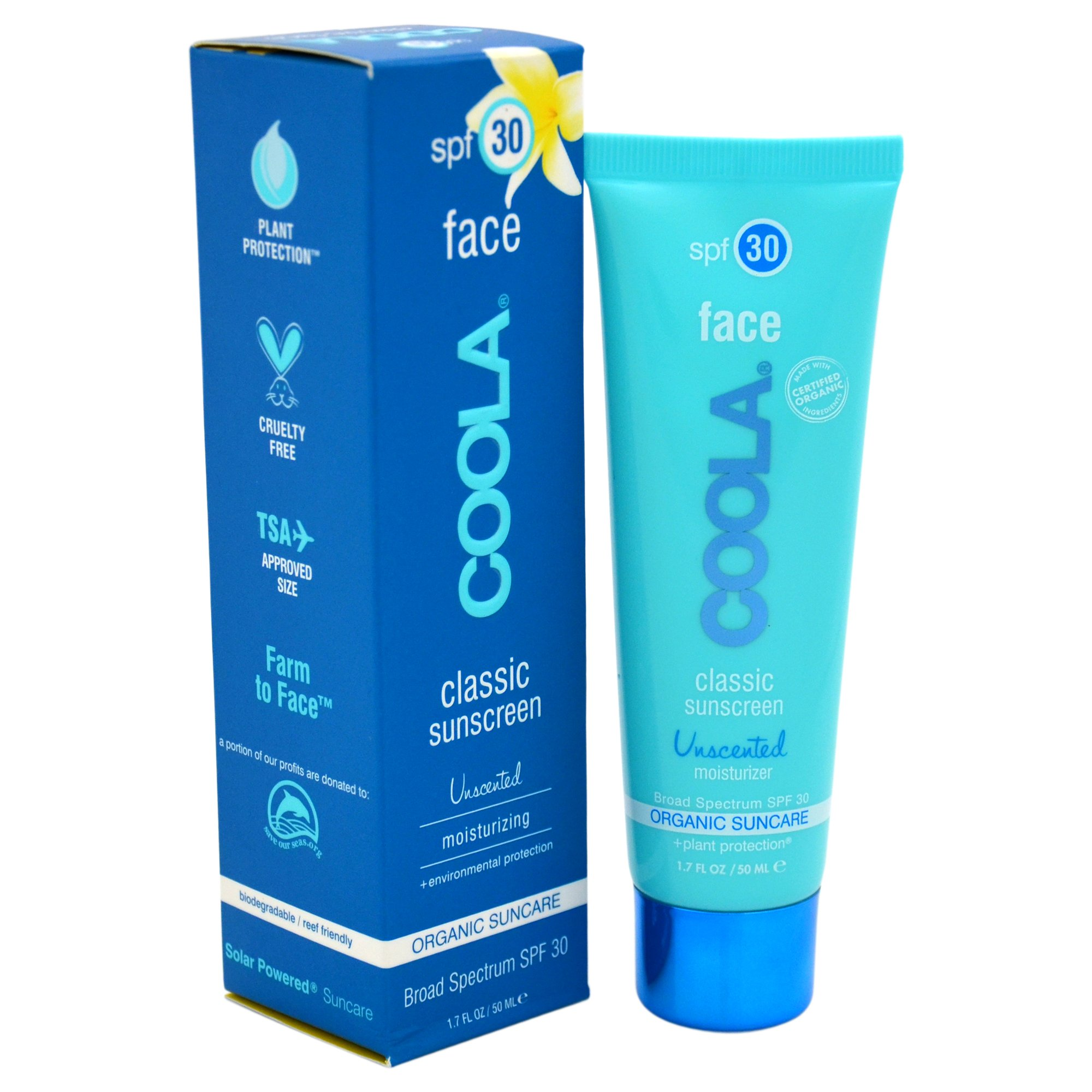 COOLA Organic Classic Unsented Daily Face Sunscreen|Broad Spectrum SPF 30|Daytime Lotion +Sunscreen All-In-One|Sheer Finish|Lightweight|Water Resistant|Reef Friendly|TSA Approved Travel Size