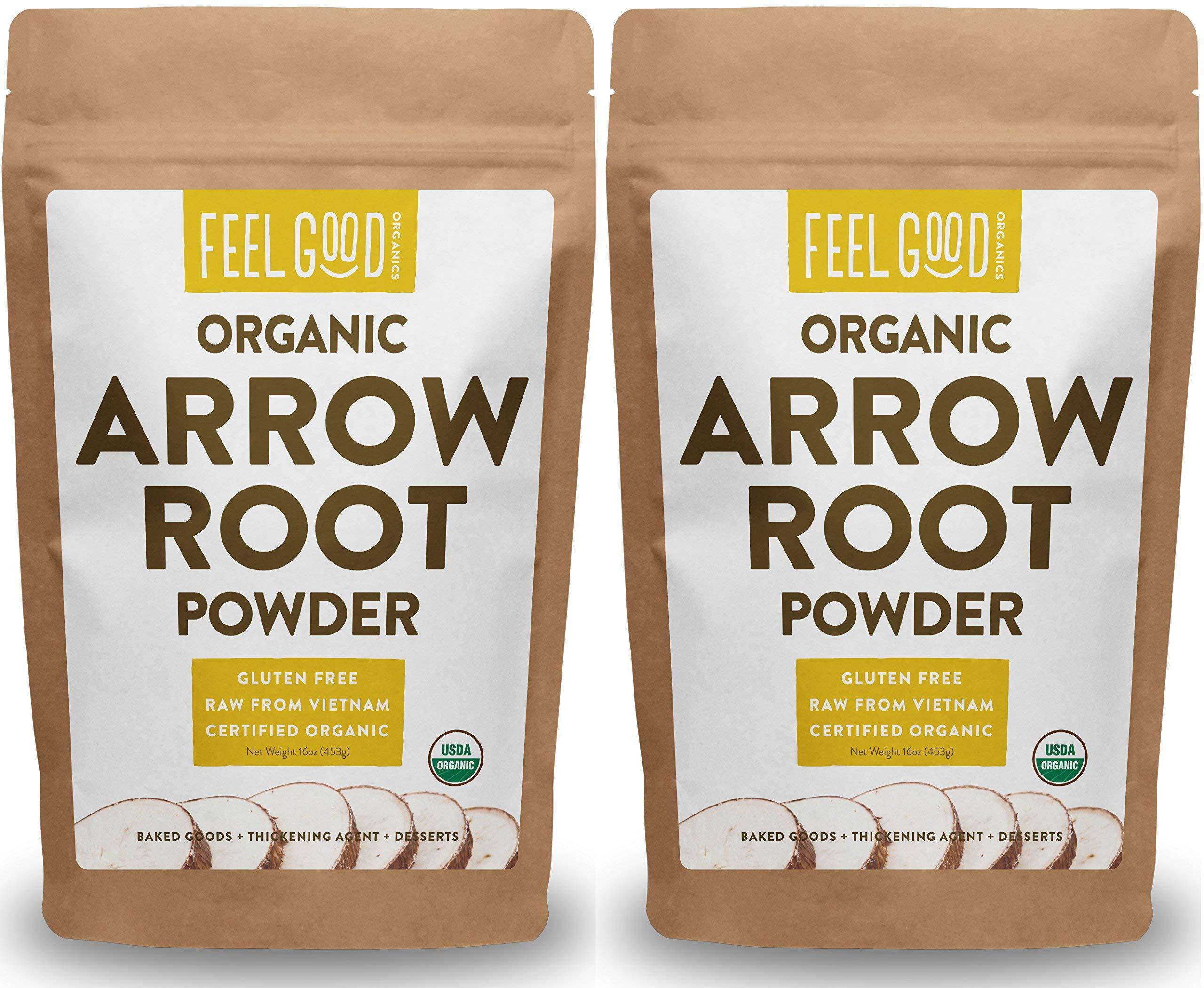 Organic Arrowroot Powder (Flour) - 2x 1 Pound Reselable Bags (32oz / 2 lbs Total) - 100% Raw From Vietnam - by Feel Good Organics