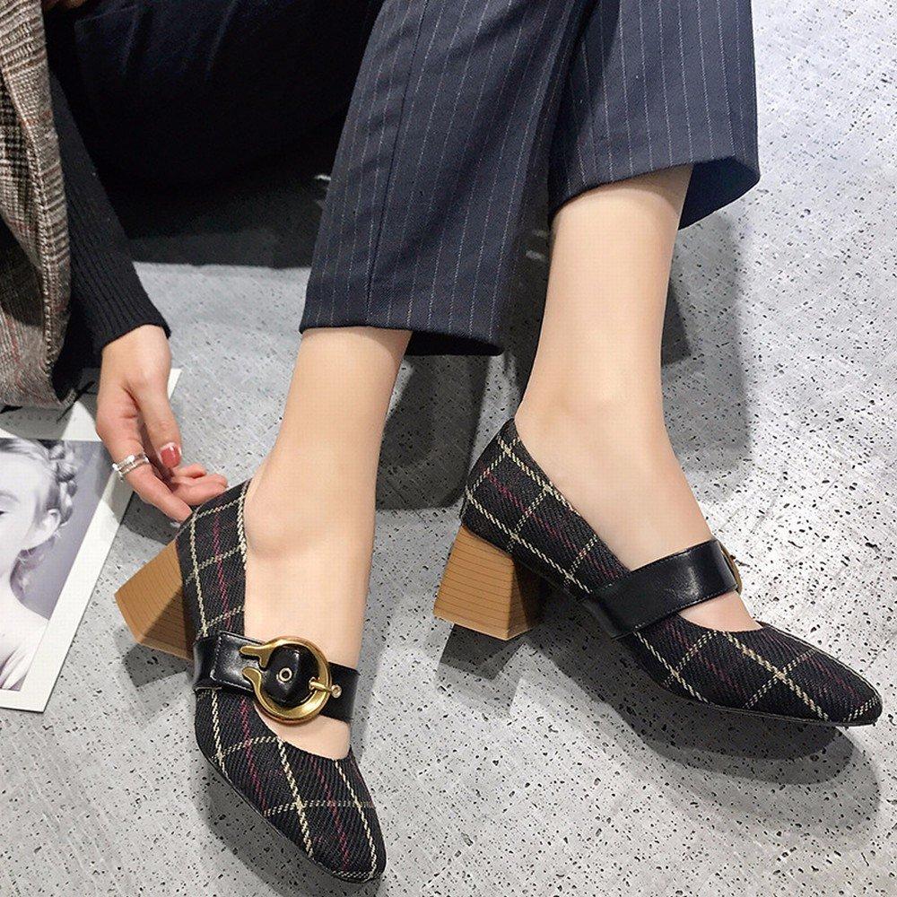 SED Zapatos Sueltos de Primavera, Zapatos Mary Jane Bajos con Tacones Altos, Zapatos Abuelita con Hebilla de Palabra de Mujer,Negro,39 39|Negro