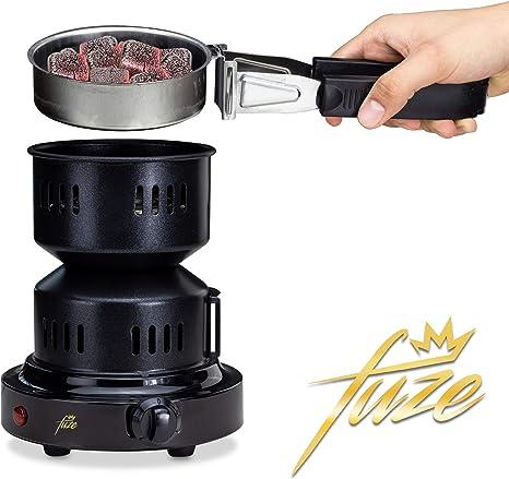 Encendedor de carbon electrico para shisha y barbacoa | hornillo portatil para cachimba y grill | cable de 150 cm | calentador con rejilla y pinzas | ...