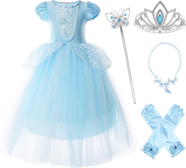 JerrisApparel Niña Princesa Cenicienta Disfraz Manga de Soplo Fiesta Vestido
