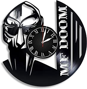 Vinyl Record Wall Clock Compatible with Lil MF Doom Rapper Themed Home Decor - Living Room Wall Clock MF Doom Wall Art Decor for Adults