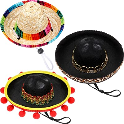 3 Pieces Mini Sombrero Hats Pet Straw Hats Cute Straw Sombreros for Fiesta Carnival Summer Party Decorations Adults Teens Pets: Toys & Games