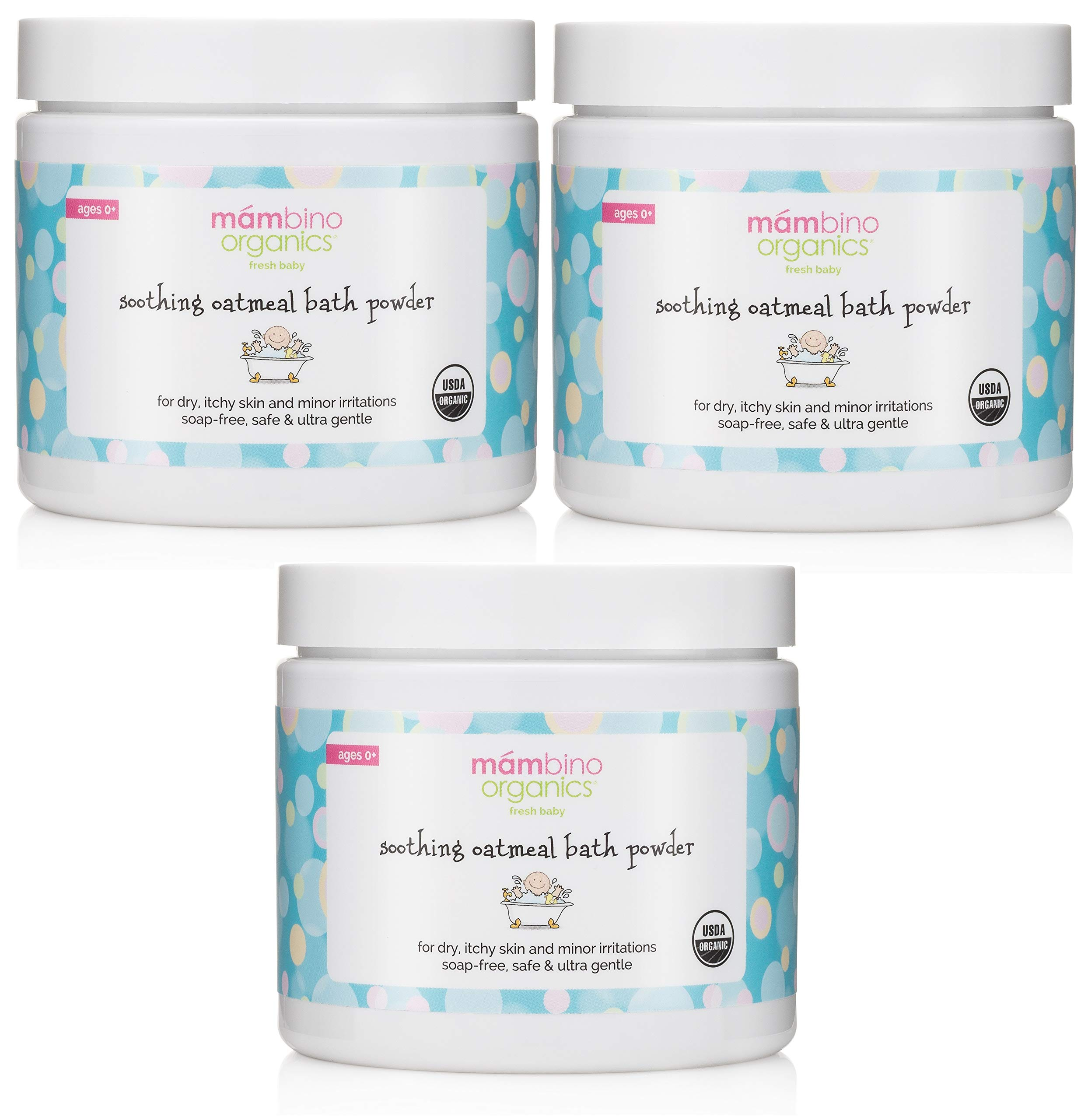 Mambino Organics Soothing Bath Treatment with 100% Natural Colloidal Oatmeal for Treatment & Relief of Dry, Itchy, 4 Ounce (3-Pack) by Mambino Organics