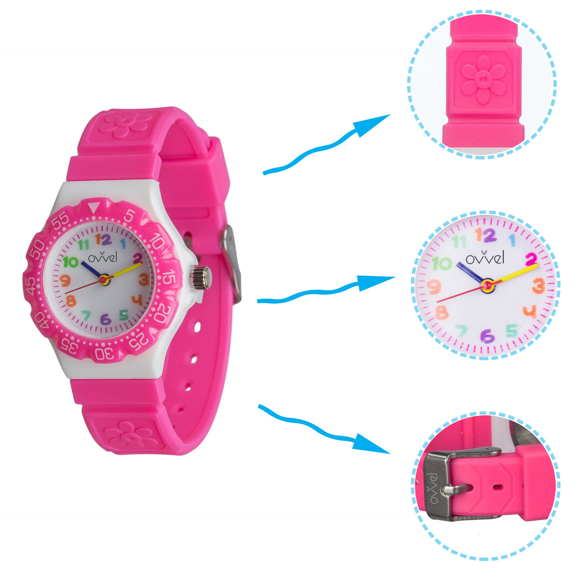 Ovvel Kids Watches, Wrist Watch for Little Girls, Beautiful & Adorable Time Teacher Watch, Innovative Easy–to–Read Design with Japanese Movement & Sony Battery, Gift for Little Girls - Pink by Ovvel (Image #3)