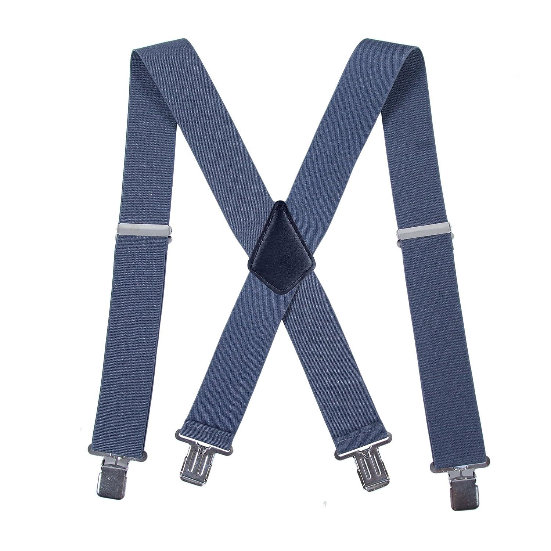 Heavy Duty 2 Inch Wide X Shape Strong Clip Suspender Wine red Men Utility Suspenders Adjustable Elastic
