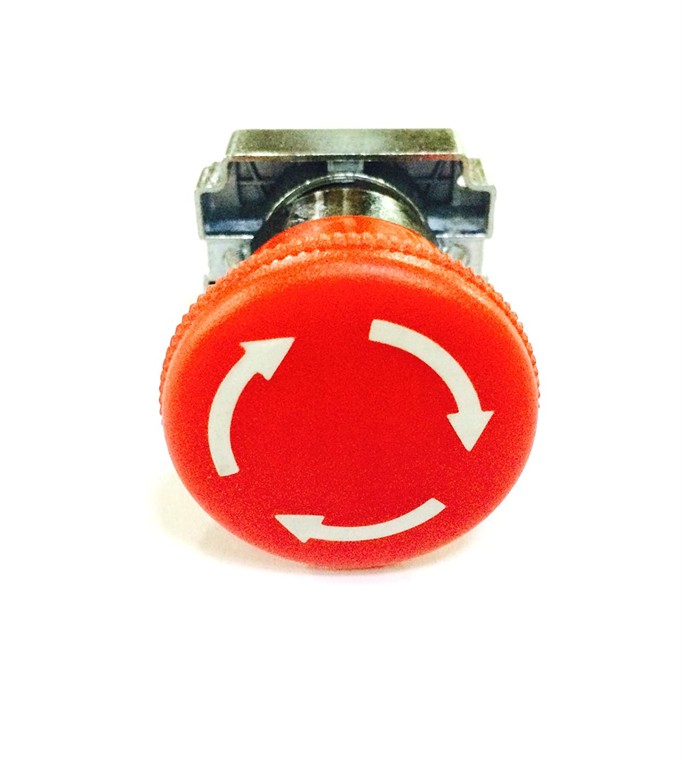 Fixing Collar Normally Closed Contact Red C/&S Electric Turn to Release SHAMROCK CONTROLS RCB2-BS542 Mushroom Head Push to Lock Button Assembly