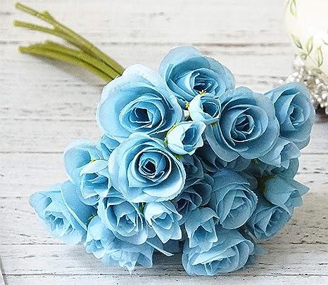 Amazon Com Mistari 9 Pack 18 Heads Plastic Artificial Flowers Roses Fake Silk Flowers Home Decorative Party Wedding Blue Furniture Decor