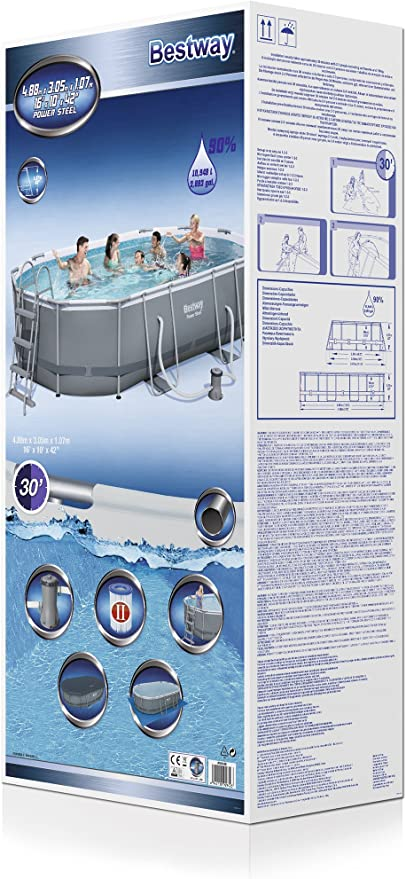 Bestway Power Steel Ovalado Frame Pool Set, Color Gris Oscuro con ...