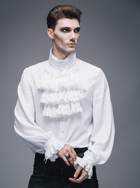 Moda Casual Fit Slim Nero Camicie Uomo Steampunk Retro Gothic zPOSO