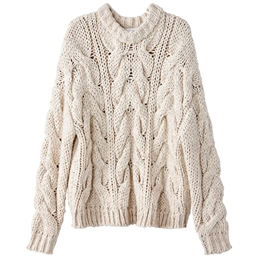 ccd9f5086f6681 La Redoute Collections Womens Wool Blend Chunky Cable Knit Jumper/Sweater  Beige Size M
