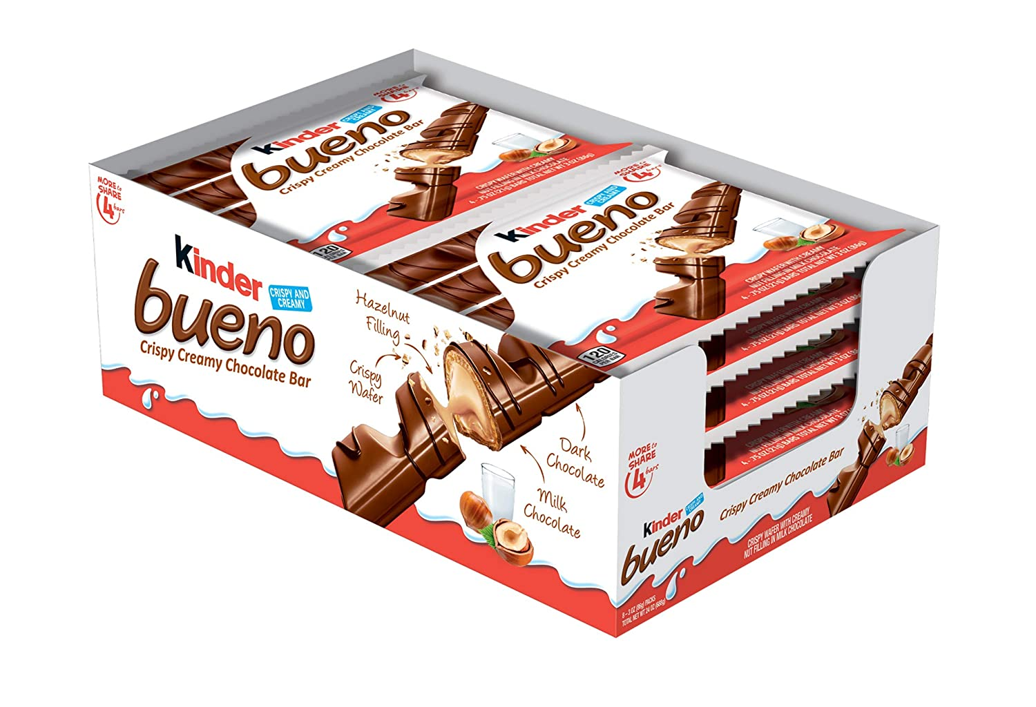 Kinder Bueno Milk Chocolate & Hazelnut Cream Candy bar, 8 Pack, 4 Individually Wrapped .75 Oz Bars Per Pack, 8 Count
