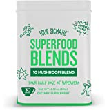 Four Sigmatic 10 Mushroom Blend - Lions Mane,Reishi, Cordyceps, Chaga, Enoki, Maitake, Shiitake, Tremella, Meshima, Agaricus Blazei,dual-extracts, 60 gram, 30 servings, new tin box, discontinuing bags