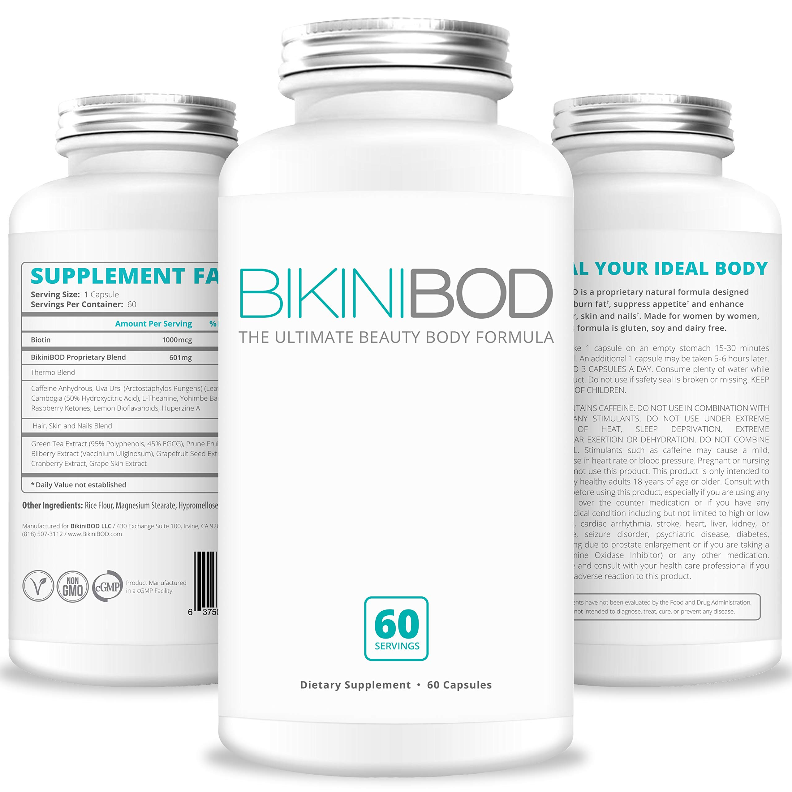 BIKINIBOD Weight Loss Pills for Women - Premium Vegan Weight Management & Beauty Supplement for Women | Garcinia Cambogia, Caffeine, Superfruit Extract, Yohimbe, Raspberry Ketones, Biotin| Fat Burners by BikiniBod