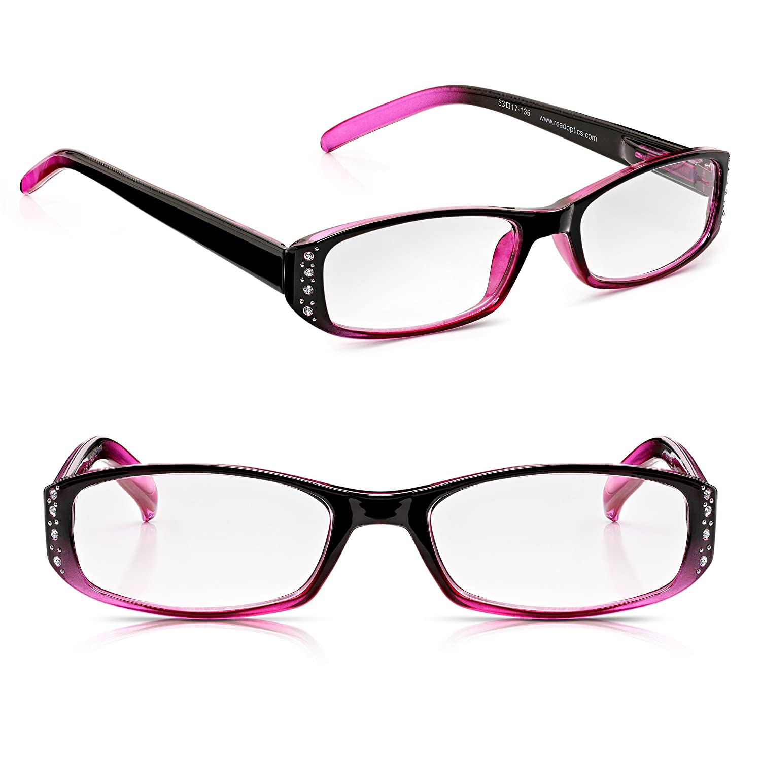 Read Optics Diamante Ladies Reading Glasses 1.5: Rhinestone Inset Womens Spectacles with Black & Red Frame. +1 to +3.5 Non-Prescription Optical Quality Lenses. Durable, Lightweight Polycarbonate