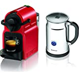 Nespresso Inissia Espresso Maker with Aeroccino Plus Milk Frother, Red (Discontinued Model)