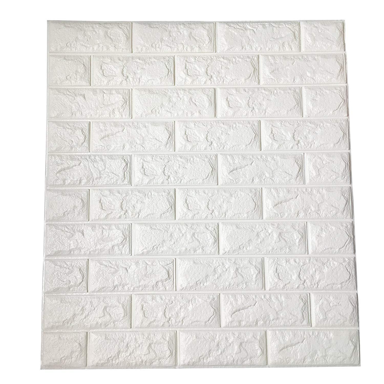 Pearl Blanco 70cm beijieaiguo Los Paneles de Pared de Papel despegar y Pegar 3D Auto Adhesivo de Pared Papel Pintado Mural para Interior decoraci/ón de la Pared 77cm