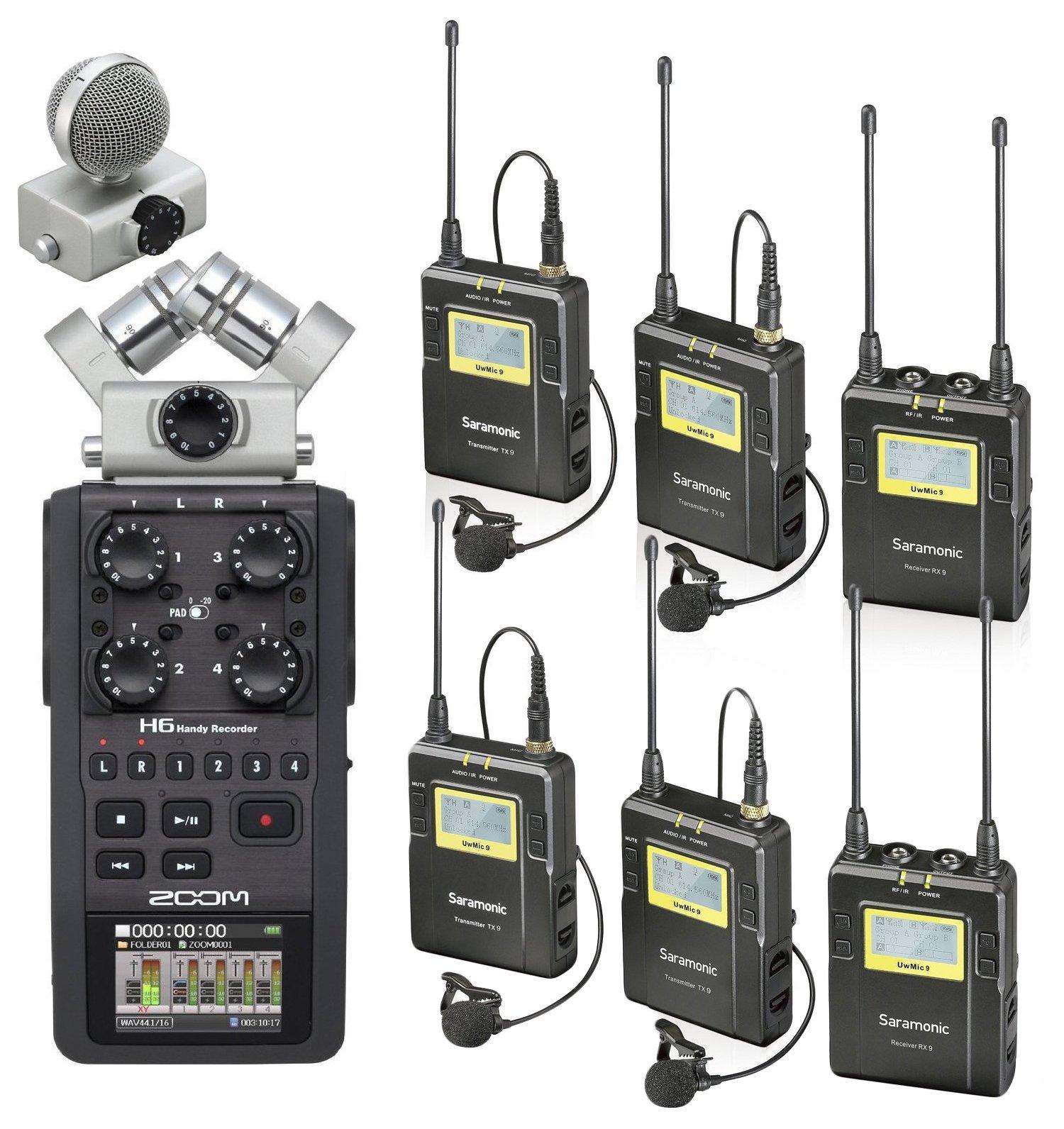 Zoom H6 Six-Track Portable Handy Recorder Bundle with Saramonic UHF Wireless Quad Lavalier Microphone System
