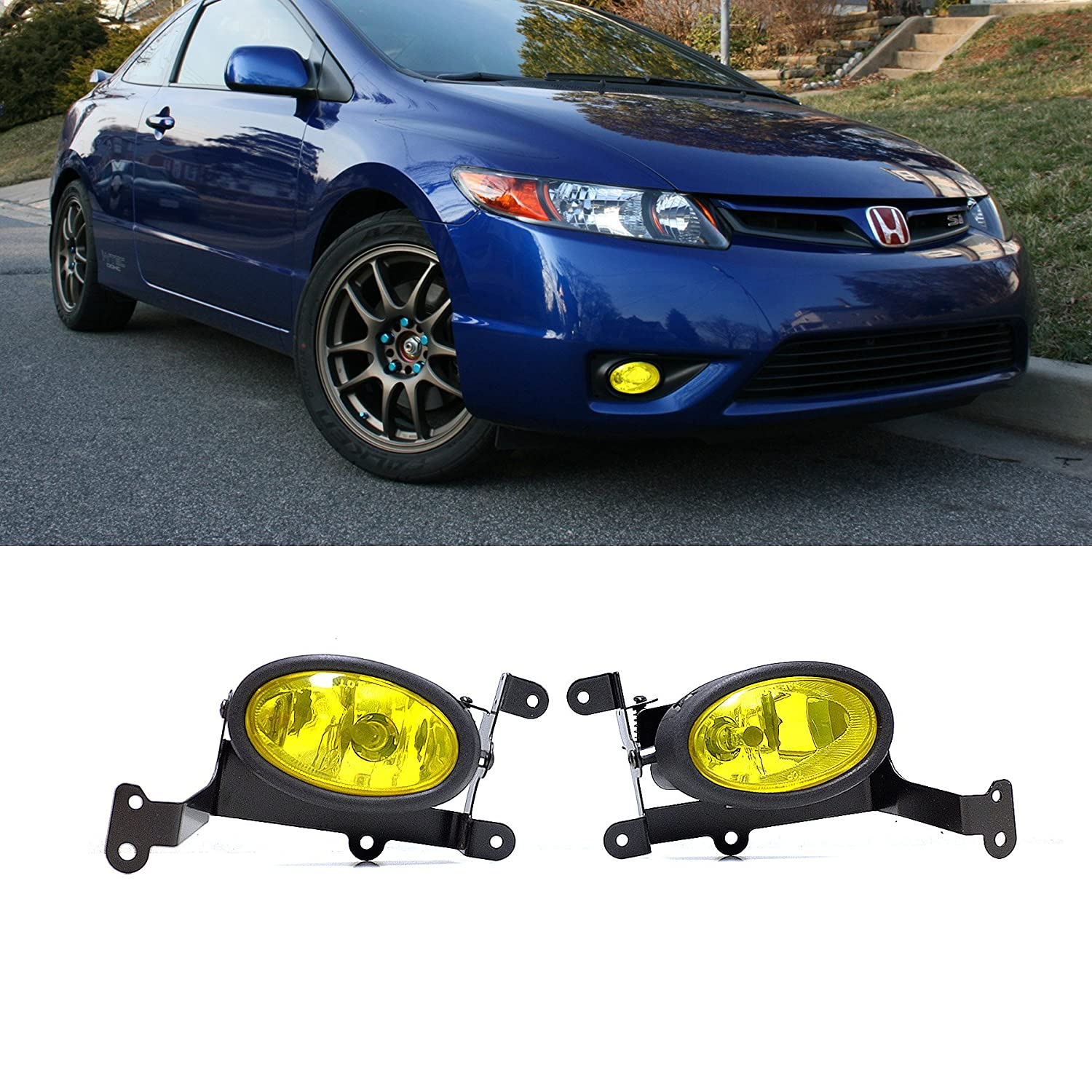 Viogi Fit 06 08 Honda Civic 2 Door Coupe Yellow Lens Fog 2008 Trailer Wiring Harness Lights Kit W Bulbs Switch Relay Bracket Necessary Mounting Hardware