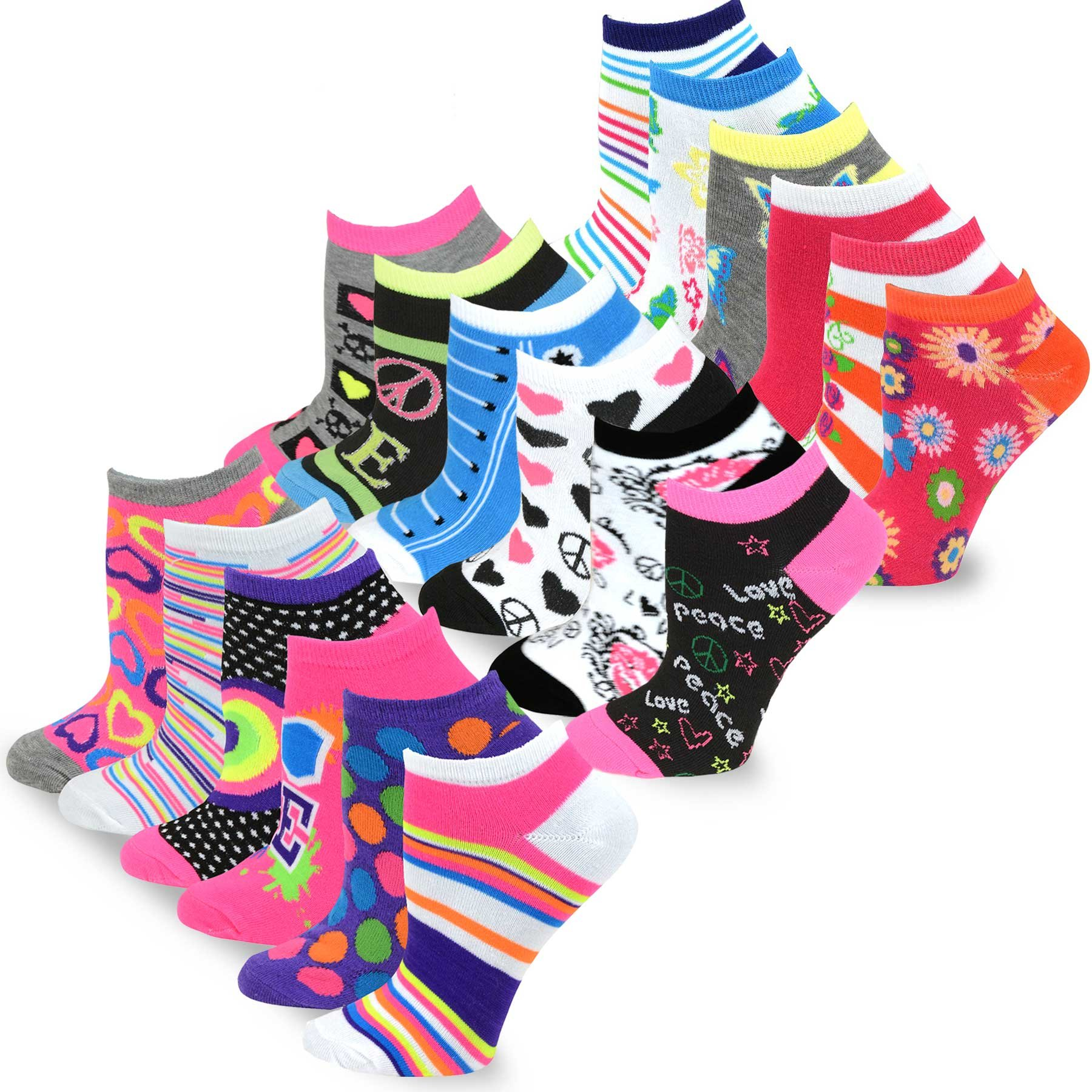 TeeHee Women's Fashion No Show Fun Socks 18 Pairs Packs (Love Peace)  9-11