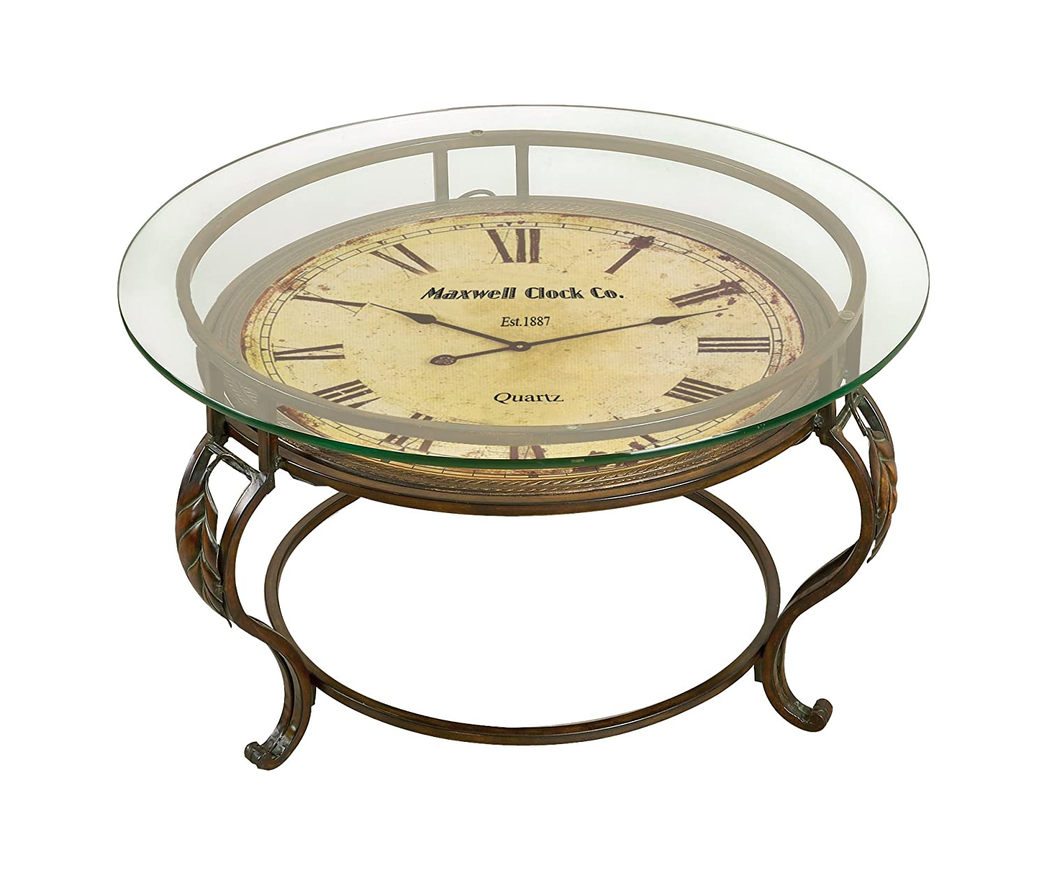 Etonnant Amazon.com: Aspire Cocktail Table With Clock, Reddish/Brown: Home U0026 Kitchen