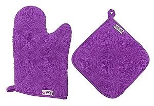 Lavlish Oven Mitt & Pot Holder Set 100% Cotton, Purple