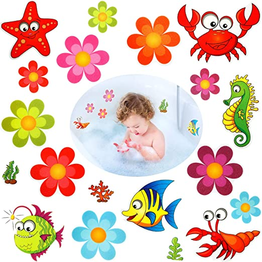 Stairs Daisy Bath Treads and Anti-Slip Appliques for Bath Tub Shower Room and Other Slippery Surfaces 10 Pieces Mudder Non slip Bathtub Stickers Adhesive Decals with Bright Colors