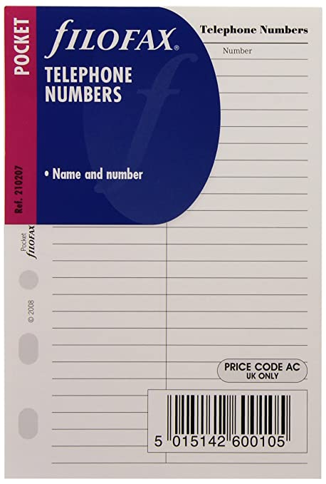 Filofax Pocket - Recambio para agenda de anillas, agenda de teléfonos (en inglés)