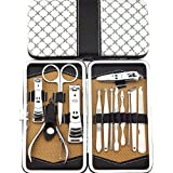 Belle 13 Pieces Classic Stainless Steel Nail Clippers Tweezers Manicure Pedicure Tools Set Kit With A Beautiful Wallet/Case, for Thick Hard Nails, onychomycosis, ingrown Nail, paronychia,the Best Gift Idea