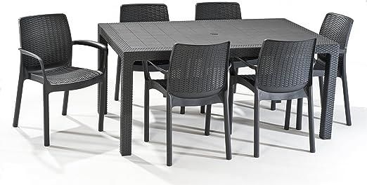 Keter - Set de mobiliario Melody (mesa + 6 sillas), color grafito: Amazon.es: Jardín