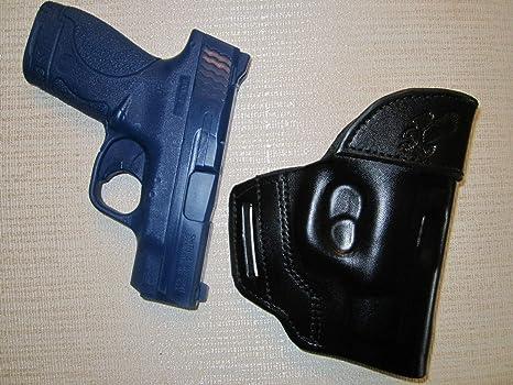 .40 OWB Leather 2 Slot Molded Pancake Belt Holster CCW BLACK RH S/&W Shield 9mm