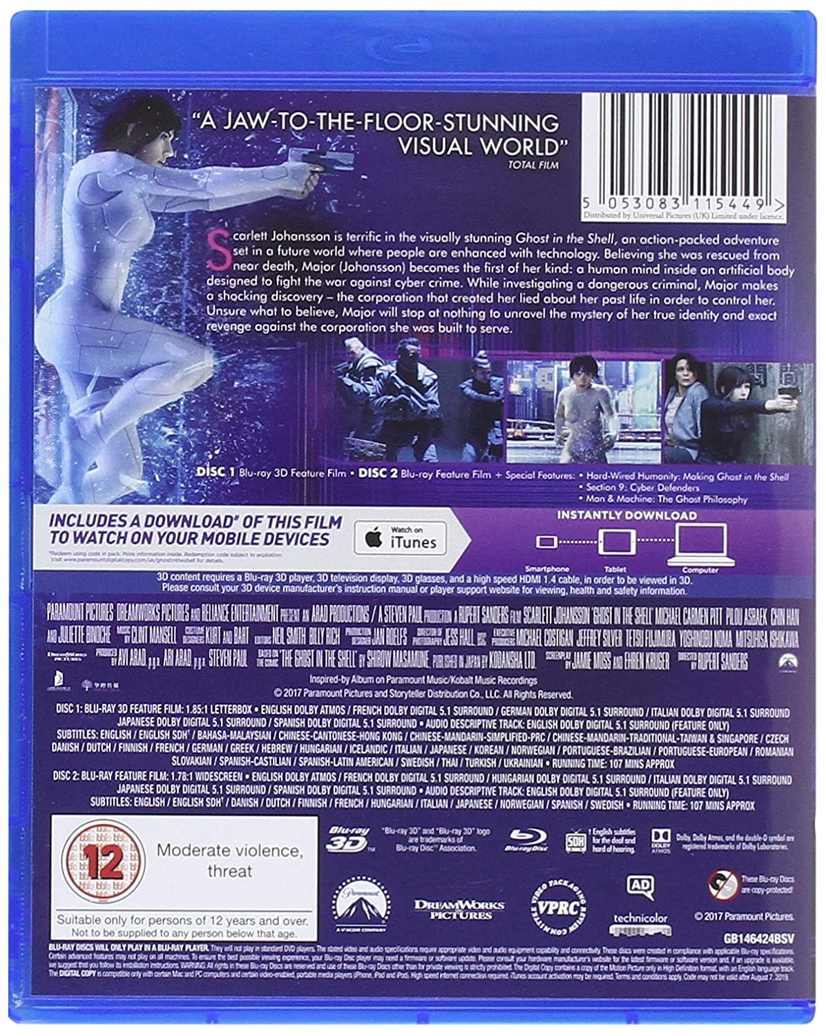 Amazon Com Ghost In The Shell 3d 2d Blu Raytm Digital Download 2017 Movies Tv
