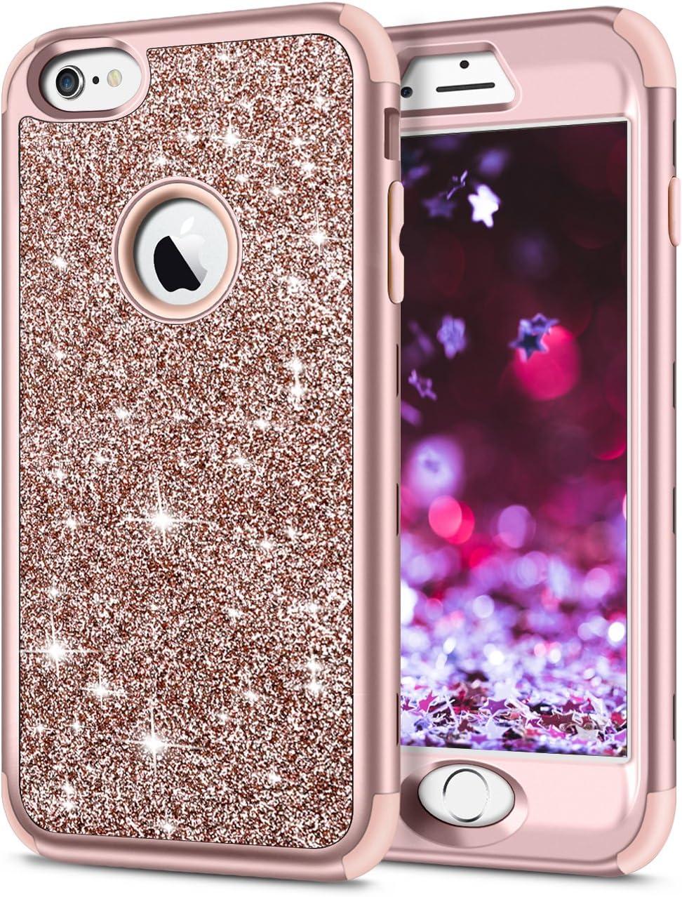 Coque pour iPhone 6S, Samsung Pow avec paillettes brillantes et intérieur en caoutchouc souple 3 en 1 - Coque de protection intégrale pour iPhone 6 - ...