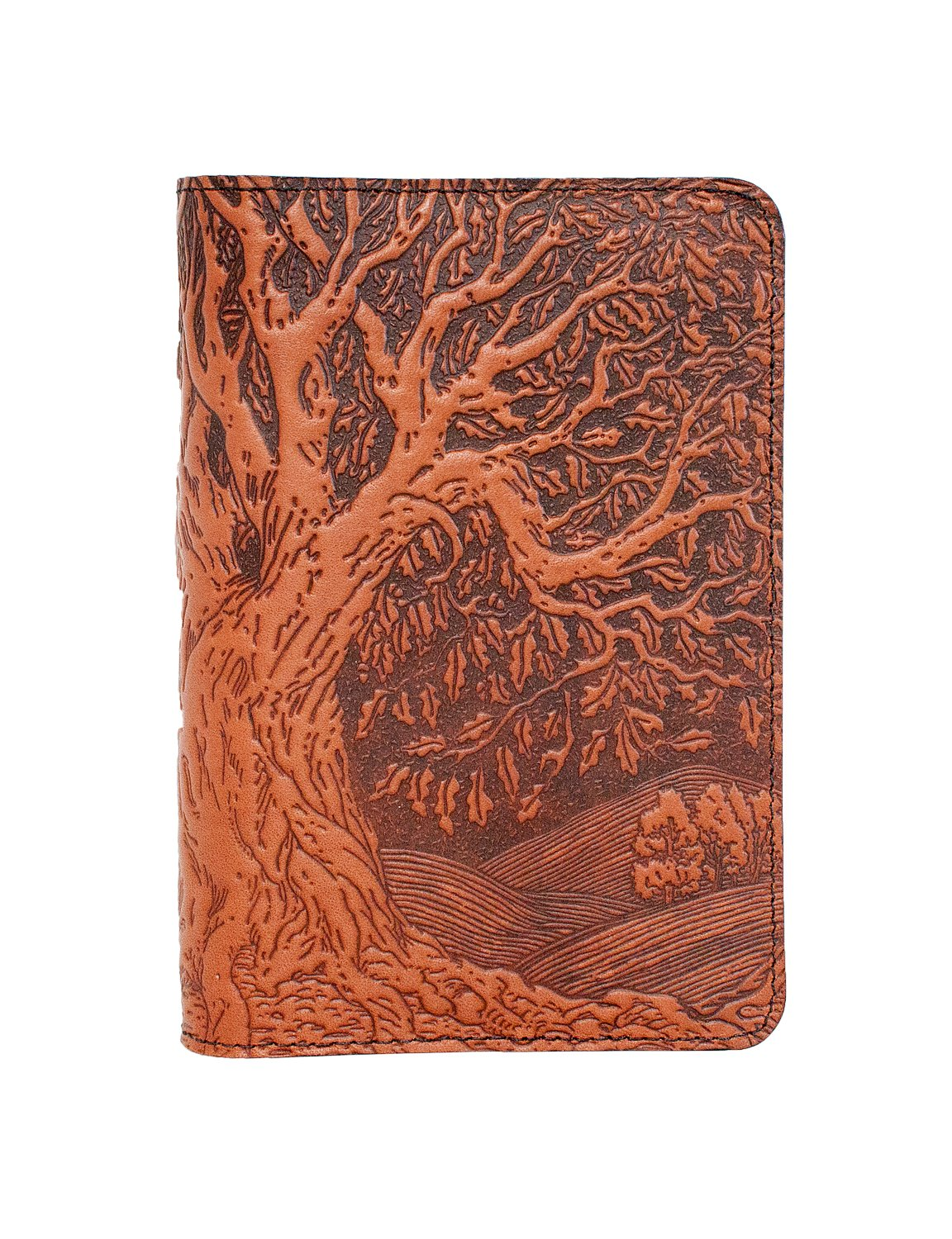 Oberon Design Tree of Life Pocket Notebook Cover - Fits Many 5.5 x 3.5 Inch Notebooks, Embossed Genuine Leather, Saddle Color - Made in The USA