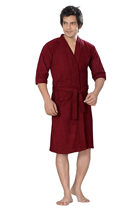 Buy Superior Men s Cotton Maroon Bathrobe (Full) Online at Low Prices in  India - Amazon.in 72d6bf34e